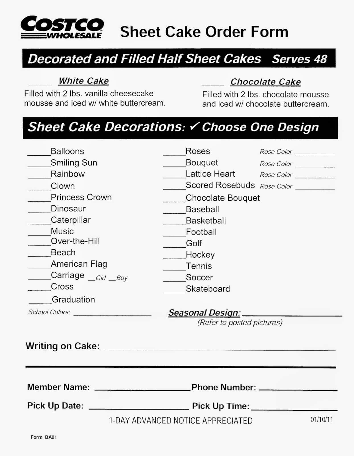 Costco Sheet Cake Order Form